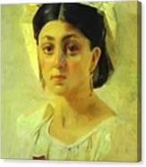 Young Italian Woman In A Folk Costume Study Canvas Print