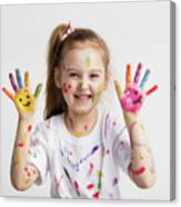 Young Kid Showing Her Colorful Hands Canvas Print