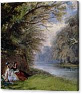 Young Ladies By A River Canvas Print