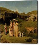 Young Ladies Of The Village By Gustave Courbet, 1851-1852 Canvas Print