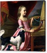 Young Lady With A Bird And A Dog Canvas Print