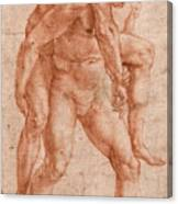 Young Man Carrying An Old Man On His Back Canvas Print