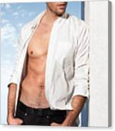 Young Man In Unbuttoned Shirt Canvas Print