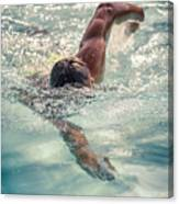 Young Man Swimming Canvas Print
