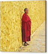 Young Monk Against Yellow Wall Canvas Print