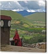 Young Monk Looking Over His Shoulder Canvas Print