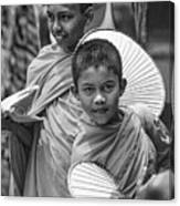 Young Monks 2 Bw Canvas Print