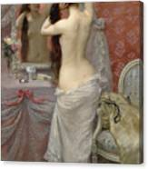 Young Nude Woman Styling In An Interior Canvas Print
