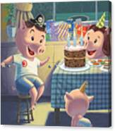 Young Pig Birthday Party Canvas Print