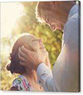 Young Romantic Couple Flirting In Sunshine Canvas Print