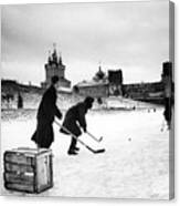 Young Russians Playing Hockey Canvas Print