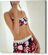 Young Woman In Mod Bikini Canvas Print