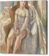 Young Woman In White Chemise Canvas Print