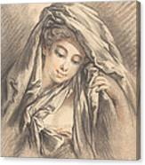 Young Woman With Her Head Covered Canvas Print