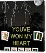 Youve Won My Heart  Poker Cards Canvas Print