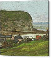 Yport And The Falaise D'aval Canvas Print
