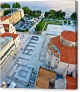 Zadar Forum Square Ancient Architecture Aerial View Canvas Print