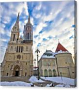 Zagreb Cathedral Winter Daytime View Canvas Print