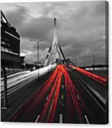 Zakim Bridge And Td Garden Boston Ma Red Tail Lights Canvas Print