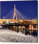 Zakim Bridge In Winter Canvas Print