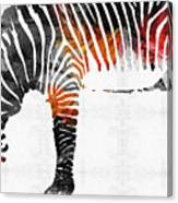 Zebra Black White And Red Orange By Sharon Cummings  Canvas Print