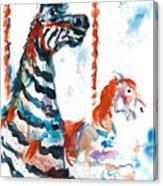 Zebra Gets A Ride The Ocean City Boardwalk Carousel Canvas Print