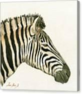 Zebra Head Study Painting Canvas Print