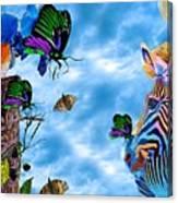 Zebras Birds And Butterflies Good Morning My Friends Canvas Print