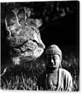 Zen Cat Black And White- Photography By Linda Woods Canvas Print