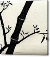 Zen Sumi Antique Bamboo 2a Black Ink On Fine Art Watercolor Paper By Ricardos Canvas Print