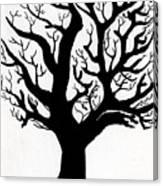 Zen Sumi Tree Of Life Enhanced Black Ink On Canvas By Ricardos Canvas Print