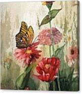 Zinnias And Monarch Canvas Print