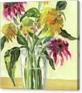 Zinnias In Vase Canvas Print