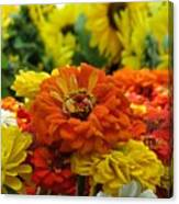 Zinnias With Sunflowers Canvas Print