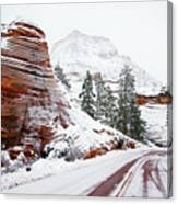Zion Road In Winter Canvas Print