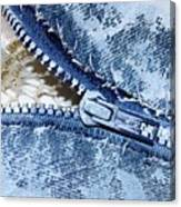 Zipper In Blue Canvas Print