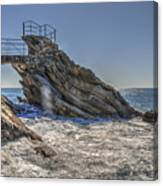 Zoagli Cliffs With Waves And Passage Canvas Print