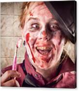 Zombie At Dentist Holding Toothbrush. Tooth Decay Canvas Print