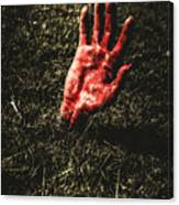 Zombie Rising From A Shallow Grave Canvas Print