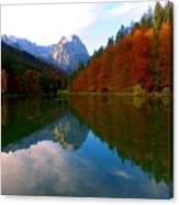 Zugspitz And Riessersee Garmish Germany Canvas Print