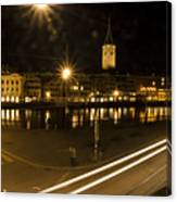 Zurich At Night Canvas Print