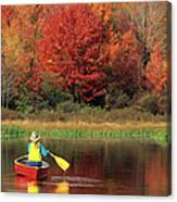 A Person Canoeing In Pennsylvania Canvas Print