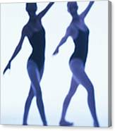 A Silhouette Of Two Young Women Canvas Print