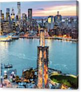 Aerial Of New York City  And Brooklyn Bridge At Dusk Canvas Print