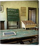 An Old Classroom With Blackboard And Boards With Old Script Canvas Print