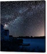 Beautiful Night Sky Astrophotography Landscape Image Of Milky Wa Canvas Print