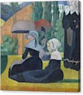 Breton Women With Umbrellas  Canvas Print