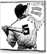 Cartoon New York Yankees Joe Dimaggio Canvas Print