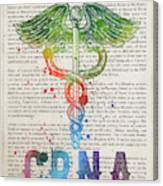 Certified Registered Nurse Anesthetist Gift Idea With Caduceus I Canvas Print
