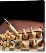 Chess Board And Bullets. Canvas Print